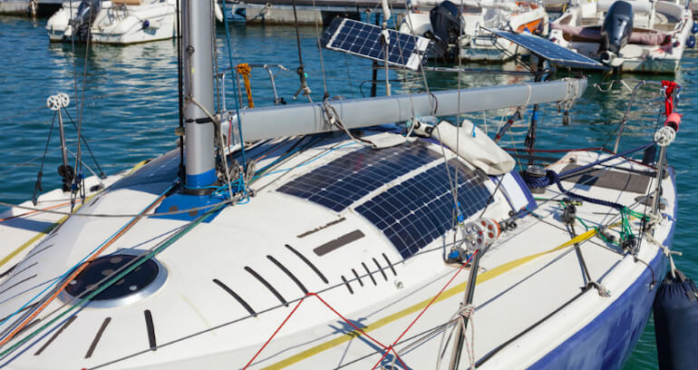 Image of Solar Panels on a Boat