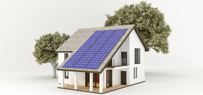 Rendering of a 4kW Solar Panel System on a House